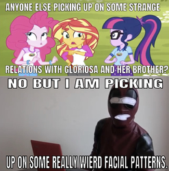 Size: 640x647 | Tagged: safe, edit, edited screencap, editor:undeadponysoldier, screencap, pinkie pie, sci-twi, sunset shimmer, twilight sparkle, human, bronies react, equestria girls, legend of everfree, animatedjames, caption, clothes, cosplay, costume, deadpool, faic, glasses, image macro, implied gloriosa daisy, implied timber spruce, irl, irl human, meme, photo, ponytail, text