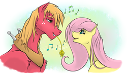 Size: 1235x713 | Tagged: safe, artist:shybaldur, big macintosh, fluttershy, earth pony, pegasus, pony, eye contact, female, fluttermac, looking at each other, male, mare, music notes, shipping, singing, stallion, straight, straw in mouth