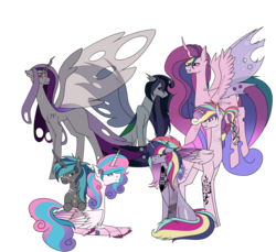 Size: 6803x6236 | Tagged: alicorn, alicorn oc, artist:moonlight0shadow0, brother and sister, brothers, changeling, changeling oc, changepony, dog tags, ear piercing, earring, female, flower, flower in hair, flying, hybrid, icey-verse, interspecies offspring, jewelry, magical lesbian spawn, male, mare, multicolored hair, oc, oc:espion, oc:lovebug (ice1517), oc:prince dust, oc:princess black lichen, oc:starbright sword, offspring, older, older flurry heart, parent:princess cadance, parent:queen chrysalis, parents:cadalis, parent:shining armor, parents:shiningcadance, parents:shining chrysalis, piercing, pony, princess flurry heart, princess skyla, purple changeling, raised hoof, raised leg, safe, scar, siblings, simple background, sisters, sitting, stallion, tattoo, transgender, trans girl, transparent background, unicorn, unshorn fetlocks, wall of tags, white changeling