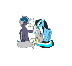 Size: 6803x6236 | Tagged: alicorn, alicorn oc, artist:moonlight0shadow0, bat pony, bat pony alicorn, bat pony oc, comforting, female, hippogriff, hippogriff oc, hug, mare, oc, oc:elizabat stormfeather, oc:gerbera, oc:moonlight shadow, oc only, pony, safe, simple background, sitting, transparent background