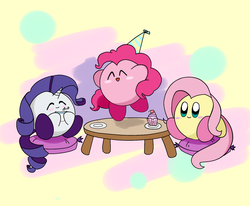 Size: 1700x1400 | Tagged: safe, artist:majupaju, fluttershy, pinkie pie, rarity, crossover, cupcake, eating, eyes closed, food, kirby, kirby (character), kirby fluttershy, kirby pie, kirby rarity, kirbyfied, sitting, table, trio