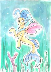 Size: 2475x3501 | Tagged: safe, artist:raph13th, princess skystar, seapony (g4), my little pony: the movie, bubble, coral, coral reef, cute, featured image, female, freckles, high res, jewelry, kelp, missing accessory, necklace, ocean, pearl necklace, seaweed, skyabetes, smiling, solo, spread wings, swimming, traditional art, under the sea, underwater, water, watercolor painting, wings