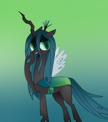 Size: 1500x1700 | Tagged: artist:majupaju, butt, evil, looking at you, plot, queen chrysalis, safe, solo