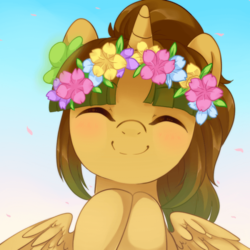 Size: 700x700 | Tagged: alicorn, alicorn oc, artist needed, brown mane, cute, eyes closed, female, floral head wreath, flower, flower in hair, mare, oc, oc only, oc:princess silvanus, pony, safe, solo