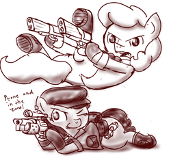 Size: 640x600 | Tagged: artist:ficficponyfic, clothes, derpibooru exclusive, diving, dual wield, duo, ear piercing, earring, earth pony, earth pony oc, female, gun, handgun, hat, jacket, jewelry, jumping, laying on stomach, male, midair, mlem, monochrome, necktie, no pants, oc, oc:brass bolts, oc only, oc:perseus, one eye closed, open mouth, optical sight, piercing, pistol, pony, prone, saddle bag, safe, scope, shoes, shooting, silly, simple background, suit, text, tongue out, unicorn, unicorn oc, weapon, white background