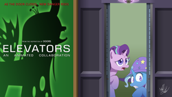 Size: 1920x1080 | Tagged: artist:fuzon-s, changeling, changeling queen, collaboration, elevator, female, movie poster, pony, queen chrysalis, safe, scared, shadow, starlight glimmer, trixie, unicorn
