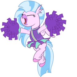 Size: 4688x4688 | Tagged: artist:besttubahorse, cheering, cheerleader, cheerleader outfit, cheerleader silverstream, classical hippogriff, clothes, cute, diastreamies, eyes closed, hippogriff, jumping, pom pom, safe, silverstream, simple background, transparent background, vector