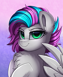 Size: 1446x1764 | Tagged: safe, artist:pridark, oc, unnamed oc, pegasus, pony, bust, chest fluff, commission, female, green eyes, looking at you, mare, portrait, smug, solo