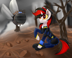 Size: 5000x4000 | Tagged: absurd res, armor, artist:miseriaart, clothes, dead tree, fallout equestria, fallout equestria: project horizons, fanfic, fanfic art, female, hooves, horn, mare, observer, oc, oc:blackjack, oc only, oc:watcher, pipbuck, pony, raised hoof, robot, safe, security armor, sitting, smiling, spritebot, tree, unicorn, vault security armor, vault suit, wasteland