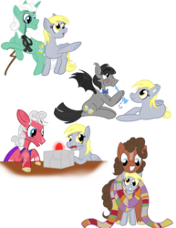 Size: 1700x2200 | Tagged: artist:sixes&sevens, blaze (coat marking), bowtie, cane, cape, clothes, derpy hooves, ditzy doo, doctorderpy, doctor who, female, first doctor, fourth doctor, male, monocle, mouth hold, plugged ears, pointing, ponified, pony, puffed cheeks, recorder, safe, scarf, screwdriver, second doctor, shared clothing, shared scarf, shipping, simple background, straight, third doctor, transparent background