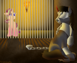 Size: 1100x900 | Tagged: safe, artist:enigmadoodles, king sombra, starlight glimmer, pony, unicorn, fanfic:shadow of a doubt, chained, jail