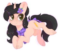 Size: 1053x893 | Tagged: artist:shady-bush, bow, clothes, female, mare, oc, oc:reefer, pony, safe, scarf, simple background, solo, tail bow, transparent background, unicorn