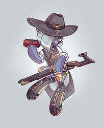 Size: 1348x1651 | Tagged: artist:avonir, ashe (overwatch), clothes, crossover, earth pony, female, gun, limestone pie, mare, overwatch, pony, safe, solo, weapon