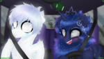 Size: 3500x2000 | Tagged: safe, alternate version, artist:darkest-lunar-flower, princess luna, oc, oc:lux(pearle), alicorn, alien, pony, area 51, car, crown, crying, driving, gun, jewelry, military, regalia, shook, weapon