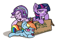 Size: 3000x2000 | Tagged: alicorn, artist:danli69, box, cardboard box, drool, giveaway, palindrome get, pony, raffle, rainbow dash, safe, simple background, starlight glimmer, tongue out, twilight sparkle, twilight sparkle (alicorn), white background