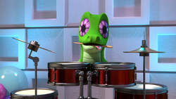 Size: 1920x1080 | Tagged: safe, screencap, gummy, hello pinkie pie, 3d, cgi, drums, drumsticks, mouth hold, musical instrument, official, tongue out, uncanny valley, youtube link