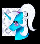 Size: 1004x1103 | Tagged: safe, artist:ali-selle, oc, oc:pummela, pony, unicorn, blushing, hair over one eye, ponytail, tsundere
