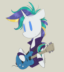 Size: 850x950 | Tagged: alternate hairstyle, artist:sinrar, female, guitar, it isn't the mane thing about you, musical instrument, pony, punk, raripunk, rarity, safe, simple background, solo, unicorn