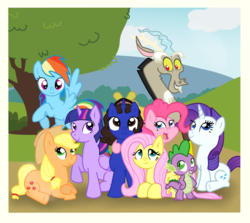 Size: 1964x1753 | Tagged: alicorn, applejack, applejack's hat, artist:vcm1824, cowboy hat, discord, draconequus, dragon, earth pony, female, fluttershy, hat, male, mane seven, mane six, mare, oc, pegasus, photo, pinkie pie, pony, ponysona, rainbow dash, rarity, safe, self insert, spike, twilight sparkle, unicorn