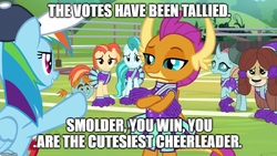 Size: 1920x1080 | Tagged: 2 4 6 greaaat, changedling, changeling, cheerleader ocellus, cheerleader outfit, cheerleader smolder, cheerleader yona, clothes, dragon, dragoness, edit, edited screencap, female, lighthoof, meme, ocellus, pegasus, pointing, rainbow dash, safe, screencap, shimmy shake, smolder, snips, spoiler:s09e15, yak, yona