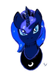 Size: 722x1032 | Tagged: alicorn, artist:ciaran, bust, female, jewelry, looking at you, mare, portrait, princess luna, regalia, safe, simple background, solo, white background