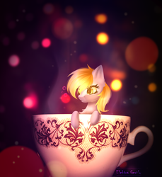Size: 1350x1472 | Tagged: abstract background, artist:elektra-gertly, bokeh, cup, cup of pony, derpy hooves, micro, pony, safe, signature, solo, teacup, tiny, tiny ponies