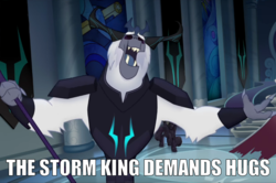 Size: 1269x845 | Tagged: antagonist, armor, canterlot castle, canterlot throne room, caption, crown, edit, edited screencap, eyes closed, fangs, horns, hugs?, image macro, jewelry, meme, my little pony: the movie, outstretched arms, regalia, safe, screencap, staff, staff of sacanas, storm king, storm king's emblem, text, yeti