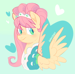 Size: 1744x1725 | Tagged: safe, artist:waackery, fluttershy, pegasus, pony, green isn't your color, alternate hairstyle, bust, clothes, female, looking sideways, mare, modelshy, portrait, solo, spread wings, three quarter view, wings