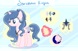 Size: 2492x1628 | Tagged: alicorn, artist:flora-glassyt, female, mare, oc, oc:sparkdust knight, pony, reference sheet, safe, solo