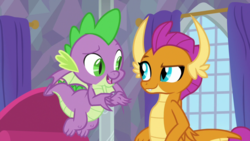 Size: 1920x1080 | Tagged: dragon, safe, screencap, smolder, spike, spoiler:s09e09, sweet and smoky