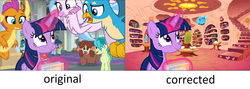 Size: 1920x682   Tagged: safe, edit, edited screencap, screencap, gallus, november rain, ocellus, sandbar, silverstream, smolder, twilight sparkle, yona, alicorn, changedling, changeling, classical hippogriff, dragon, earth pony, griffon, hippogriff, pony, unicorn, yak, she's all yak, /mlp/, bow, cloven hooves, colored hooves, dragoness, female, friendship student, glowing horn, golden oaks library, hair bow, horn, jewelry, magic, male, mare, monkey swings, necklace, op is a duck, op is trying to start shit, student six, teenager, telekinesis, twilight sparkle (alicorn), unicorn twilight