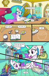 Size: 1989x3072 | Tagged: alicorn, artist:docwario, banana, beans, book, butter, cake, cakelestia, cereal, cherry, clock, comic, comic:royal chores, cupcake, cute, cutelestia, daisy jo, diabetes, discord, egg, flour, food, jam, jewelry, ketchup, milk, mustard, necklace, oc, oc:flaky pastry, oc:pia ikea, offscreen character, olive, pear butter (food), pear jam, pony, princess celestia, recipe, refrigerator, safe, sauce, sugar (food), trixie, whip cream