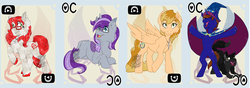 Size: 1251x442 | Tagged: armpits, artist:bluekite-falls, artist:sky-railroad, cape, card game, clothes, crystal pony, dog, hat, kirin, kirin oc, oc, oc:aria diamond, oc:dolkka, oc:jeweled faith, oc:xaldin wolfgang, pegasus, pony, prance card game, safe, unicorn, wolf