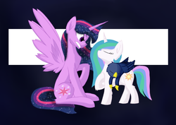 Size: 1024x724 | Tagged: safe, artist:hugo231929, princess celestia, princess luna, twilight sparkle, alicorn, griffon, pony, unicorn, fanfic:elemental: power is magic, ethereal mane, fanfic art, female, griffonized, mare, race swap, riding, role reversal, sleeping, species swap, starry mane, twilight sparkle (alicorn), ultimate twilight, unicorn celestia