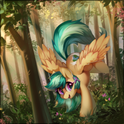 Size: 3500x3500 | Tagged: safe, artist:mirroredsea, artist:share dast, oc, oc only, oc:summer ray, pegasus, pony, collaboration, female, forest, freckles, mare, scenery, smiling, solo, spread wings, tree, wings