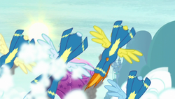 Size: 1280x720 | Tagged: canterlot castle, clothes, cloud, cloudy, female, flying, hot air balloon, male, mare, misty fly, pegasus, pony, rainbow dash, safe, screencap, sky, soarin', spitfire, stallion, theme song, twinkling balloon, uniform, wonderbolts, wonderbolts uniform