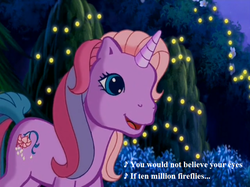 Size: 757x567 | Tagged: come back lily lightly, cute, edit, edited screencap, fireflies (song), flower, g3, lights, lily cutely, lily lightly, lyrics, owl city, safe, screencap, song reference, text, unicornia