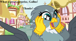 Size: 924x504 | Tagged: safe, edit, edited screencap, screencap, gabby, rarity, dragon dropped, cropped, cute, gabbybetes, happy, implied gallus, ponyville, solo focus, speech, starry eyes, wingding eyes