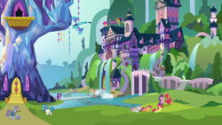 Size: 1280x720 | Tagged: alicorn, apple bloom, big macintosh, changedling, changeling, cutie mark crusaders, dj pon-3, dragon, dragoness, earth pony, female, filly, flying, king thorax, mare, maud pie, pegasus, pickaxe, pony, princess ember, rock, safe, sandbar, school of friendship, scootaloo, screencap, starlight glimmer, sugar belle, sweetie belle, theme song, thorax, twilight's castle, twilight sparkle, twilight sparkle (alicorn), unicorn, vinyl scratch, yak, yona