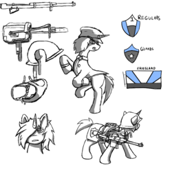 Size: 800x800 | Tagged: artist:disasterpaladin, bags under eyes, bust, clothes, fanfic art, fanfic:empty horizons, female, gun, harness, hat, helmet, mare, oc, oc:dawn detours, oc only, partial color, pony, rearing, reference sheet, rifle, saddle, safe, soldier, tack, unicorn, vest, weapon