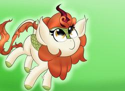 Size: 2200x1600 | Tagged: artist:nevaylin, autumn blaze, cute, gradient background, kirin, looking up, safe, smiling, solo, standing