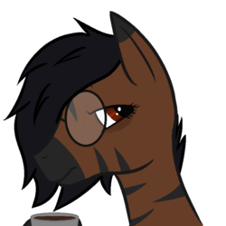 Size: 700x700 | Tagged: artist:inkwelt, coffee, female, glasses, mare, oc, oc:inkwelt, safe, solo, tired, tired of your shit, zebra, zebra oc