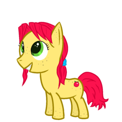 Size: 900x900 | Tagged: artist:inkwelt, bangs, cutie mark, female, filly, freckles, green eyes, mare, not an apple family oc, oc, oc:pink pearl, safe, smiling, solo