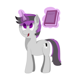 Size: 2500x2500 | Tagged: artist:inky scroll, book, magic, magic aura, male, oc, oc:inky scroll, pony, safe, simple background, stallion, transparent background, unicorn