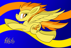 Size: 2200x1500 | Tagged: abstract background, artist:notadeliciouspotato, female, flying, mare, pegasus, pony, safe, signature, solo, spitfire, spread wings, wings
