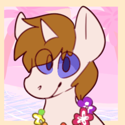 Size: 300x300 | Tagged: artist needed, flower necklace, lei, male, oc, oc:white shield, safe, solo, stallion