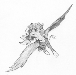 Size: 864x848 | Tagged: artist:agentkirin, monochrome, oc, oc:sky song, pegasus, pony, power ponies, safe, solo, traditional art, zapp