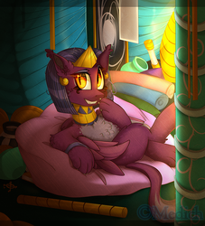 Size: 2588x2844 | Tagged: artist:mediasmile666, beanbag chair, chest fluff, chromatic aberration, female, jewelry, looking at you, regalia, safe, sitting, smiling, solo, sphinx, sphinx (character)
