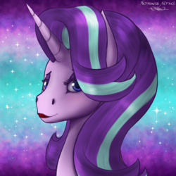 Size: 2500x2500 | Tagged: abstract background, artist:hermaeus xerxes, blushing, bust, eyeshadow, female, lipstick, looking at you, makeup, mare, pony, portrait, safe, sexy, smiling, solo, solo female, starlight glimmer, stupid sexy starlight glimmer, unicorn