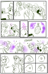 Size: 1800x2740 | Tagged: accident, artist:candyclumsy, cabinet, comic, comic:bad case of sunburn, commissioner:bigonionbean, coughing, dialogue, earth pony, fleur-de-lis, fusion, gas, hat, hospital, lightning dust, lotion, magic, medicine, nurse hat, nurse redheart, ointment, pegasus, pony, potion, random pony, safe, sassy saddles, shelves, sketch, sunburn, uh oh, unicorn